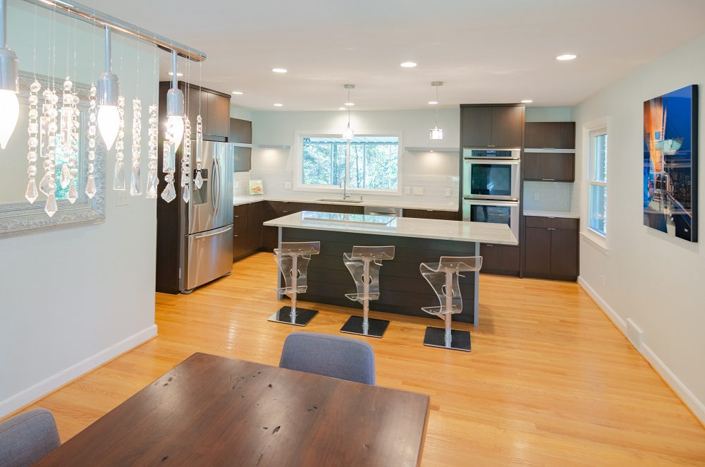 Modern White and Brown Kitchen with White Countertops